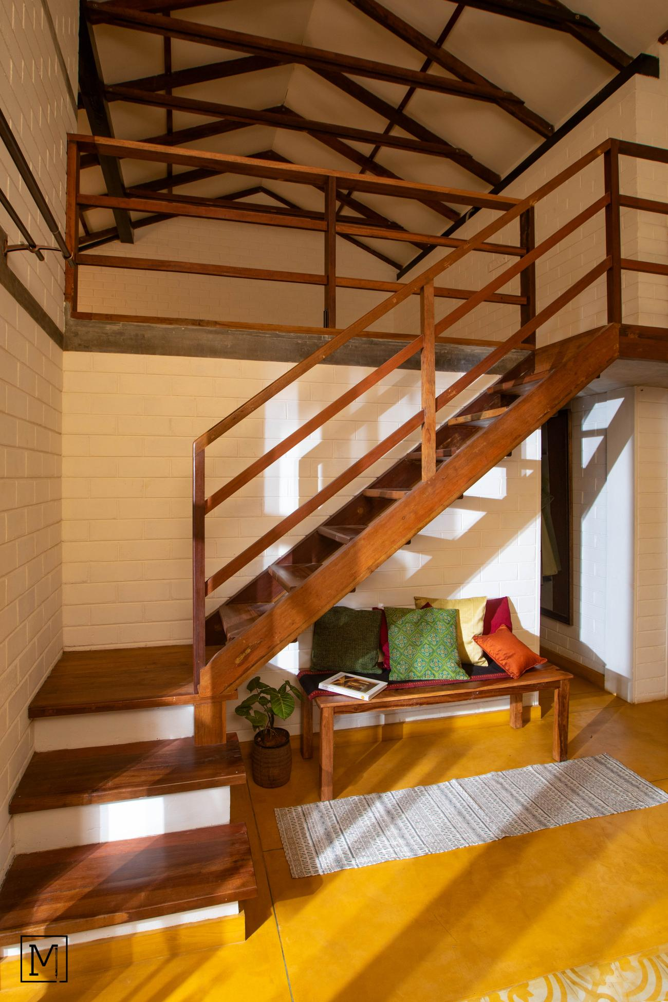 Yash Farms | Mud Architecture |CSEB |Rammed earth |Bengaluru |Wooden stairs_8
